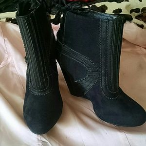 Lovely People suede wedge booties